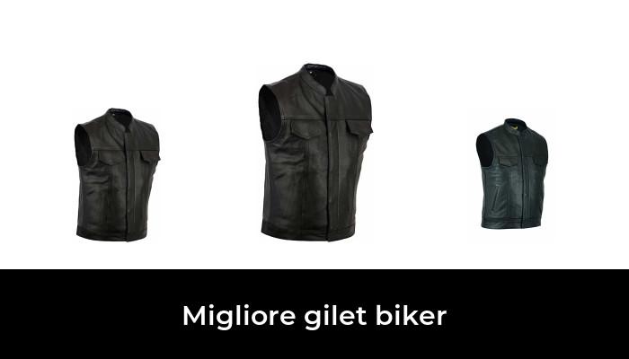 Gilet da motociclista da uomo in pelle con allacciatura laterale colore nero